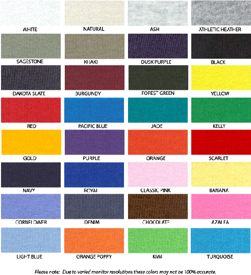 BannedMerchT Shirt Printing Fruit Of The Loom Colour Chart